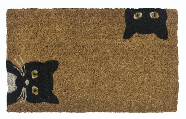 Cat Curiosity Handwoven Coco Doormat