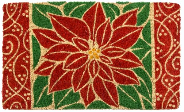 Perfect Poinsettia Handwoven Coco Doormat