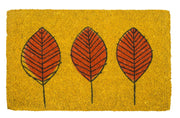 Three Leaves Handwoven Coco Doormat