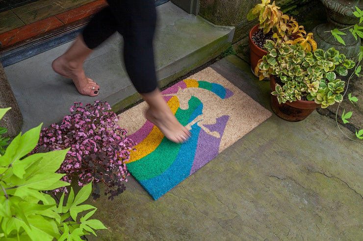 Unicorn Rainbow Handwoven Coco Doormat