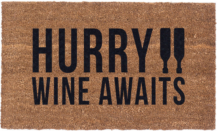Wine Awaits Vinyl Coir Doormat