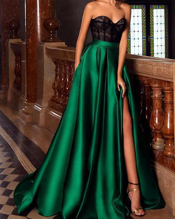 Lace Strapless Green Side-split Evening Dress