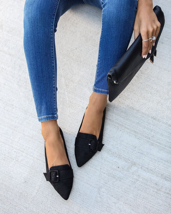 Lifestyle Pointed Buckle Flats - Black
