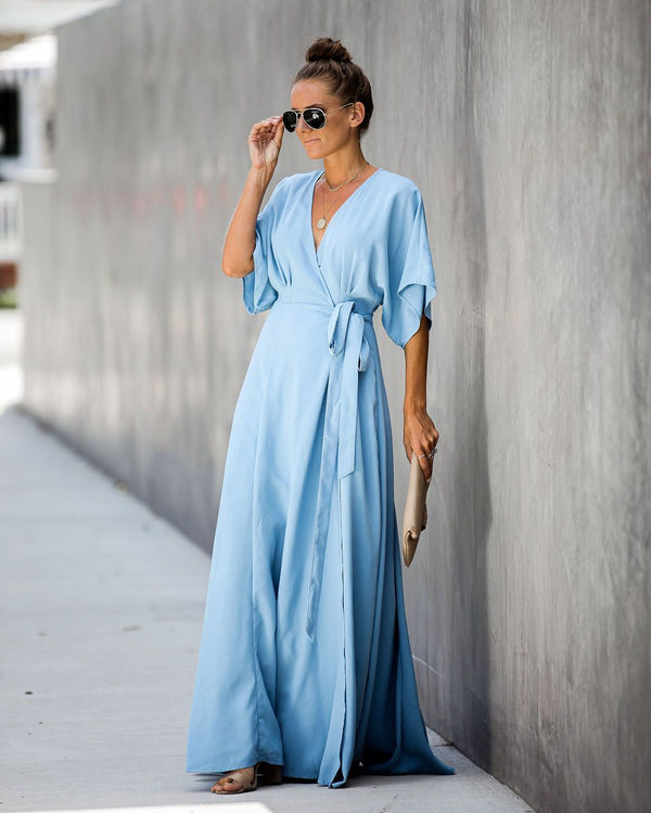 Behati Wrap Kimono Maxi Dress - Blue - FINAL SALE