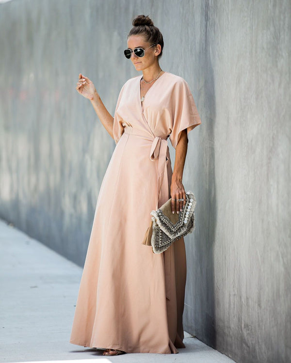 Behati Wrap Kimono Maxi Dress - Blush - FINAL SALE