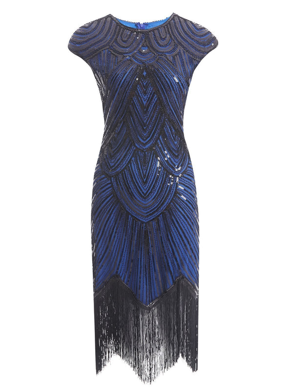 Blue 1920s Sequin Beaded Fringed Dress