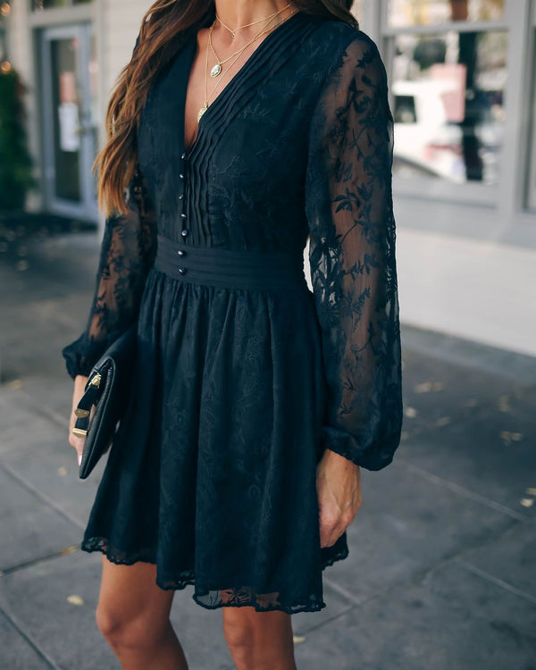 Best Behavior Embroidered Button Down Dress - Black - FINAL SALE
