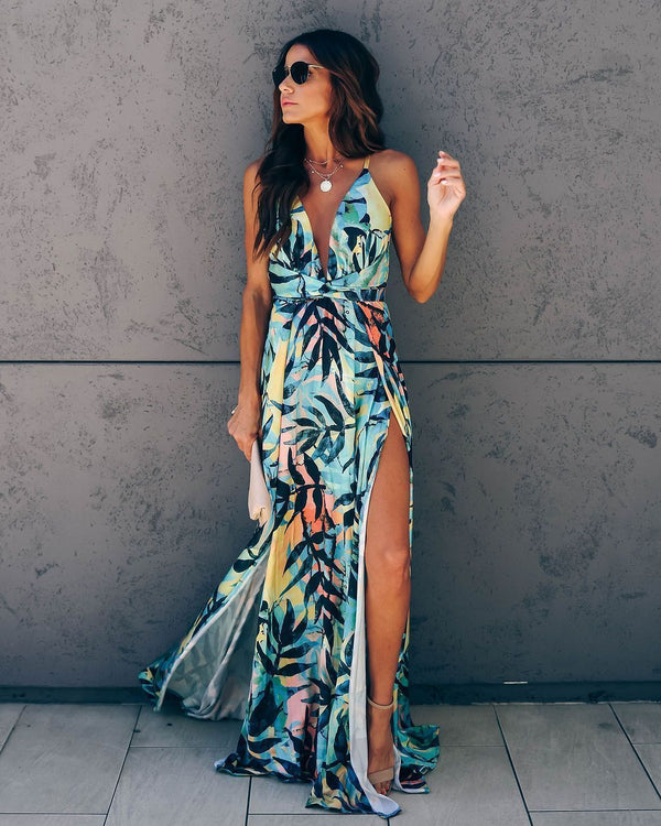 Enzo Tropical Slit Maxi Dress - FINAL SALE