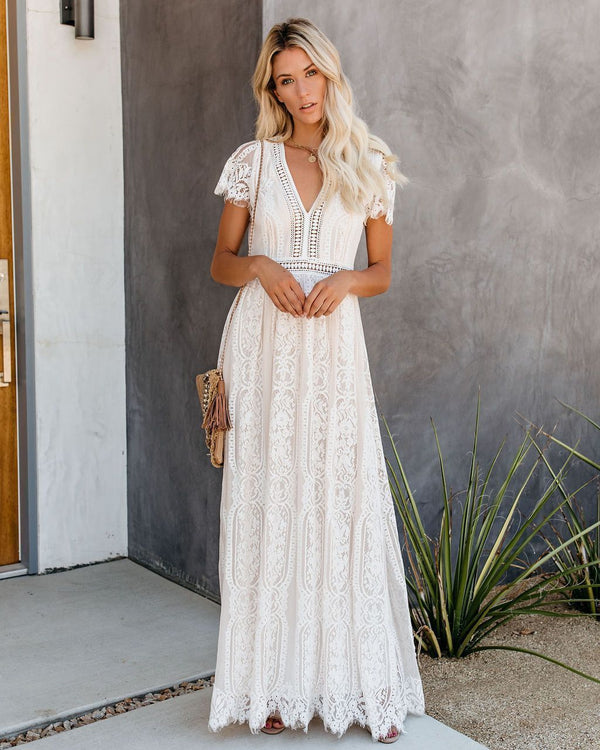 Fill Your Heart Lace Maxi Dress - Cream