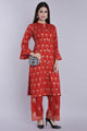 Women Rayon Foil Print Kurta And Palazzo Set