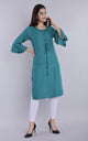 Women Cotton Plain Knotted Kurti