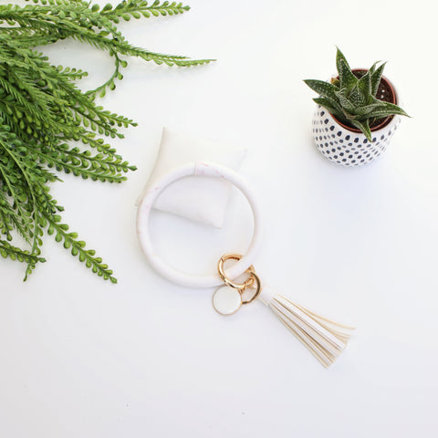 Key Ring Bracelet Collection - White w/ Pink Marble