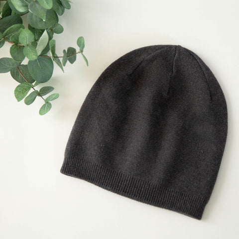 Cashmere Blend Beanie - Charcoal