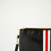Preppy Stripe Zipper Clutch - Red/White Stripe