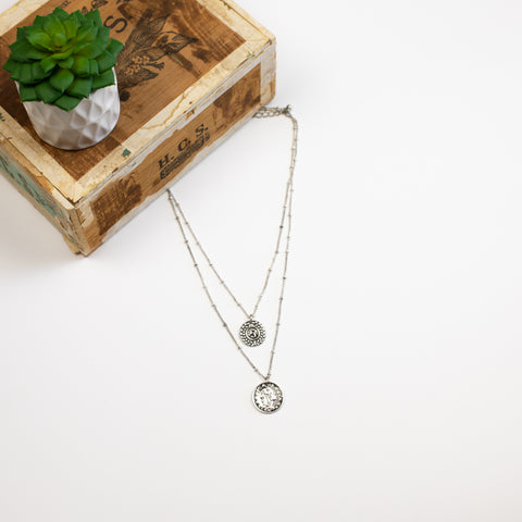 Double Layer Coin Necklace - Silvertone