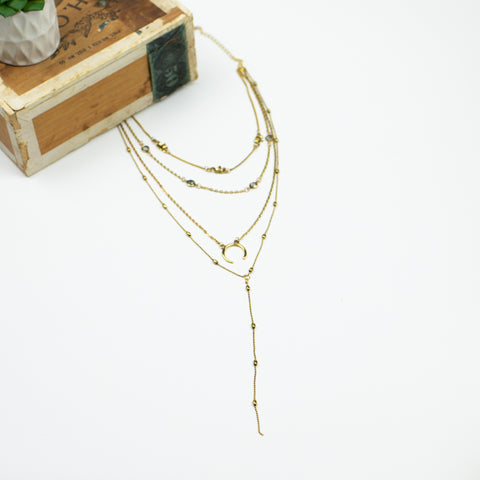 Boho Four Layer Necklace Collection - Goldtone
