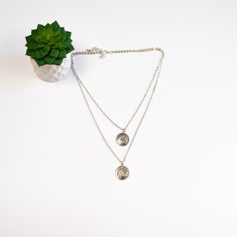Double Layer Star & Moon Necklace - Silvertone