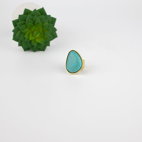 Turquoise Bezel Set Ring - Open Back - Goldtone