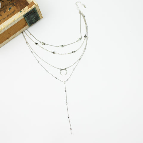 Boho Four Layer Necklace Collection - Silvertone