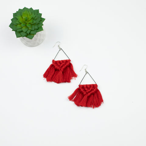 Macrame Earring Collection - Coral & Goldtone