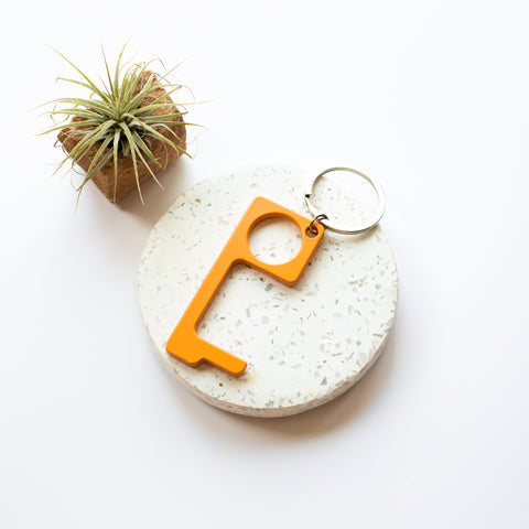 Metal no touch keyring - orange