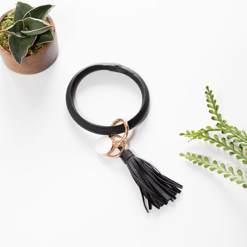 Key Ring Bracelet Collection - Solid Black