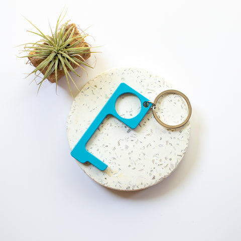 Metal no touch keyring - teal
