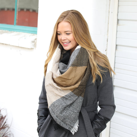 Caramel, Black & Cream Blanket Scarf