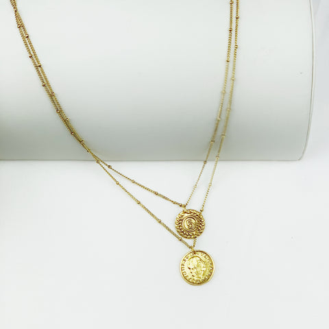 Double Layer Coin Necklace - Goldtone