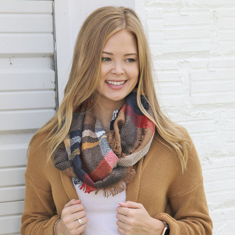 Copper, Navy & Gold Scarf Infinity Scarf