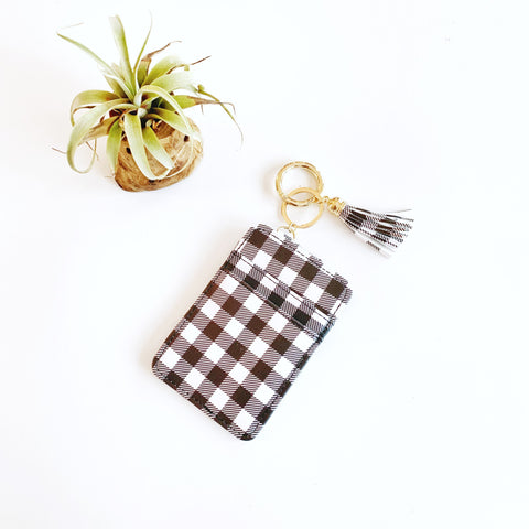 Key Ring Wallet - White & Black Buffalo