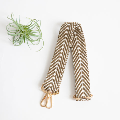 Shoulder Strap - Olive & Cream Woven Zig