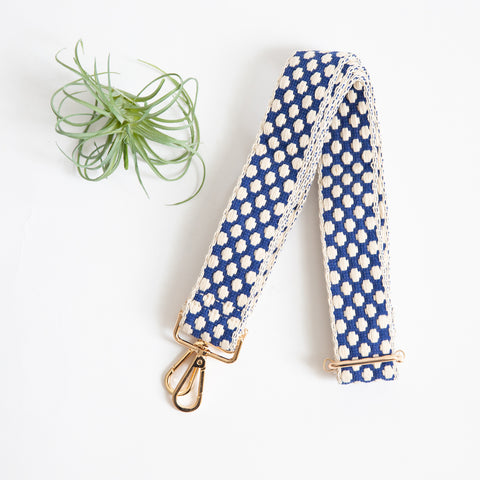 Shoulder Strap - Blue & Cream Dot