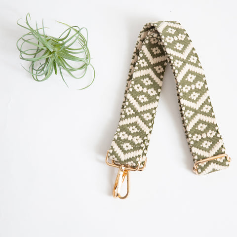 Shoulder Strap - Olive & Cream Woven Geo