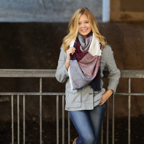 Burgundy, Navy & Cream Blanket Scarf