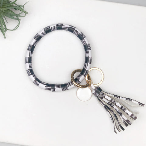 Key Ring Bracelet Collection - White & Black Buffalo Check