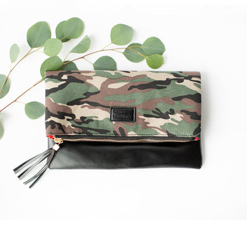 Foldover Camouflage Clutch with Red Lining Inside
