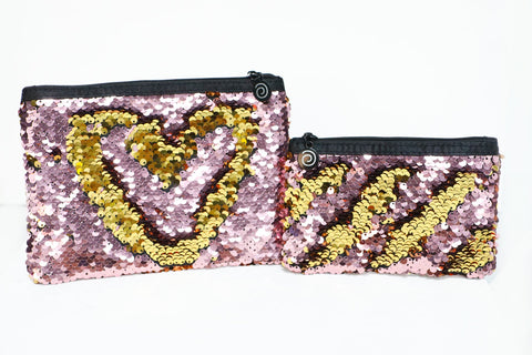 Pink & Gold Reversible Sequin Pouch Set