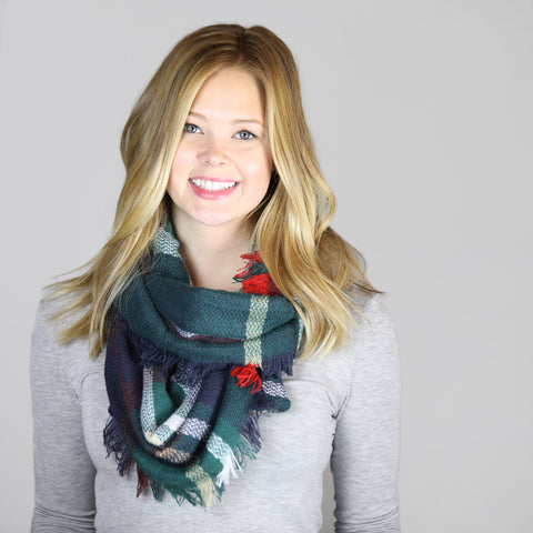Navy, Green & Red Tartan Infinity Scarf