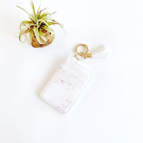 Key Ring Wallet - White w/ Pink Marble