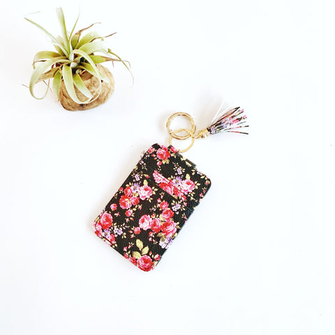 Key Ring Wallet - Black w/ Pink Mums