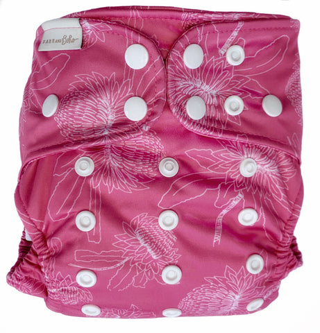 bare + boho OSFM V3 cloth nappy - waratah