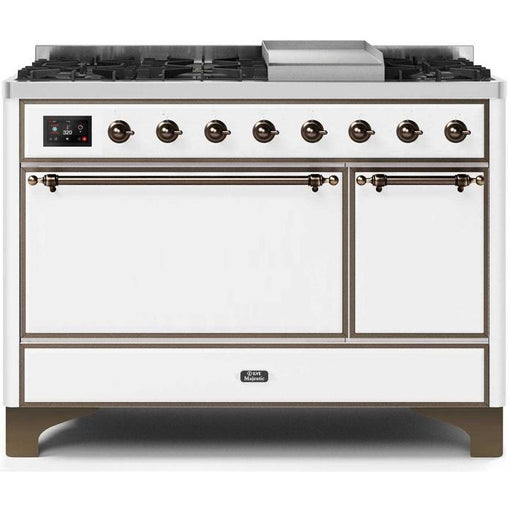 ILVE - Majestic II Series - 48 Inch White Dual Fuel Freestanding Range Gas/Propane (UM12FDQNS3) Ranges Natural Gas / White / Bronze,Natural Gas / White / Brass,Natural Gas / White / Copper,Natural Gas / White / Chrome,Natural Gas / Custom RAL Color / Bronze,Natural Gas / Custom RAL Color / Brass,Natural Gas / Custom RAL Color / Copper,Natural Gas / Custom RAL Color / Chrome,Natural Gas / Blue / Bronze,Natural Gas / Blue / Brass,Natural Gas / Blue / Copper,Natural Gas / Blue / Chrome,Natural Gas / Antique Wh