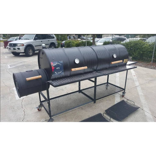 Moss Grills - Double Barrel Custom BBQ Grill with Single Smoke Box (203) Double Barrel Grills Default Title Moss Grills Dark Slate Gray