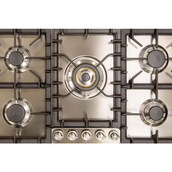 ILVE - 36 Inch Stainless Steel Natural Gas/Propane Cooktop - UHP95CI/UHP95CILP Cooktop Natural Gas,Liquid Propane ILVE Dim Gray