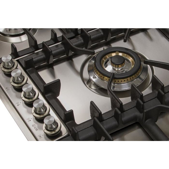 ILVE - 36 Inch Stainless Steel Natural Gas/Propane Cooktop - UHP95CI/UHP95CILP Cooktop Natural Gas,Liquid Propane ILVE Gray