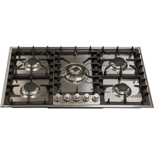 ILVE - 36 Inch Stainless Steel Natural Gas/Propane Cooktop - UHP95CI/UHP95CILP Cooktop Natural Gas,Liquid Propane ILVE Dark Olive Green