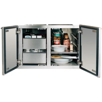 "Summerset Grills - SSDP-36DC - 36"" Stainless Steel 2-Drawer Dry Storage Pantry & Enclosed Cabinet Combo Storage Pantry & Enclosed Cabinet Combo Default Title Summerset Grills Gray"