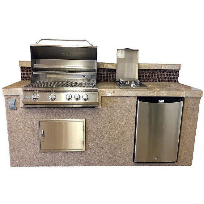 "KoKoMo Grills - BALI - Bali 7'6"" Island with Backsplash and Built In BBQ Grill Outdoor Kitchen Islands Liquid Propane,Natural Gas KoKoMo Grills Rosy Brown"