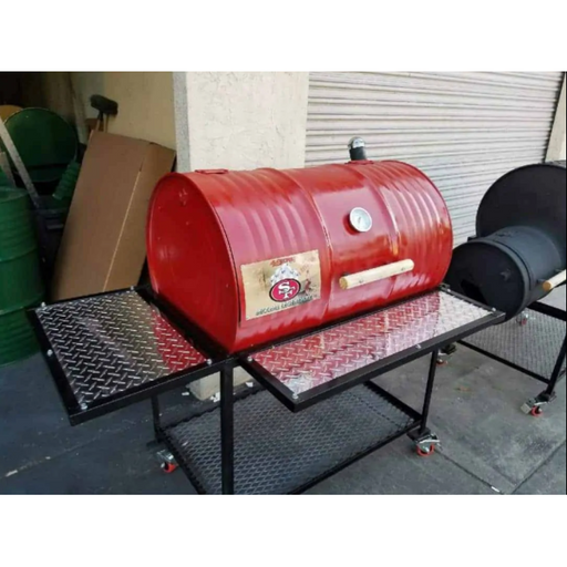 Moss Grills - Single Barbecue Barrel Deluxe Grill (107) Single Barrel Grills Default Title Moss Grills Brown
